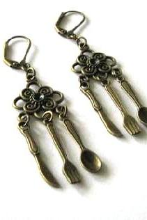 Knife fork spoon earrings jewelry - Antiqued bronze leverback with flower connector