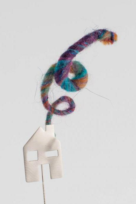 Home Sweet Home Sterling Silver Pin with Wirecore Yarn Multicolor Smoke Original Playful Design for Cardigans Sweaters, Clothes and Bags
