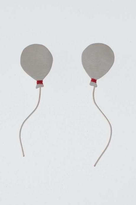 Back To Sky Balloon Sterling Silver Earrings with Red Floss Original Design Modern Celebration Gift