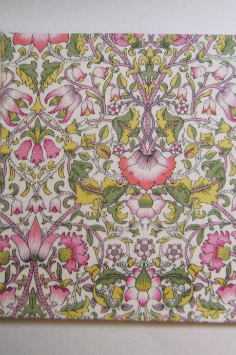 Wedding Guest Book - Liberty Print 'Lodden' Green & Pink Floral - 8' x 5.5' - Ready to Ship
