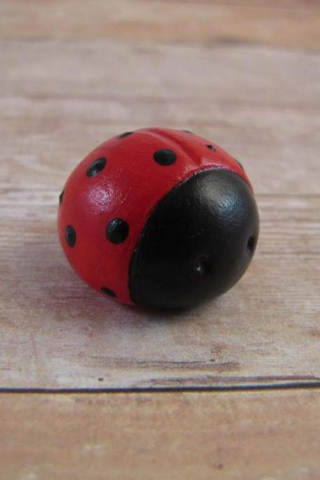 Tiny Red and Black Ladybug Figurine or Terrarium Decoration Made to Order