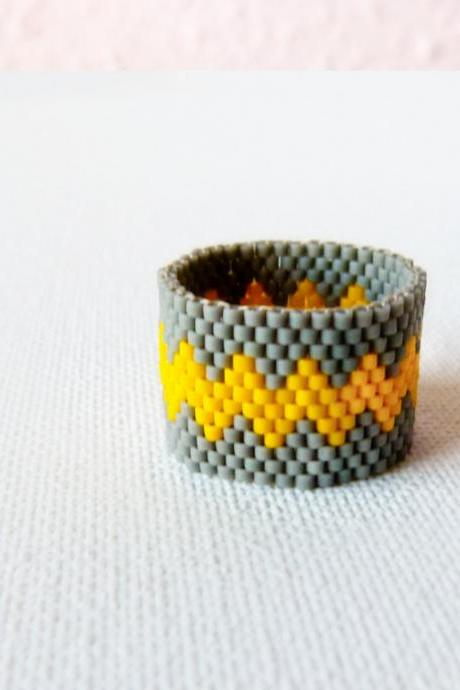 Modern geometric chevron Custom band ring Grey yellow zig zag Beaded fashion jewelry under 25