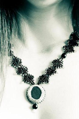 Black Lace Fashion Bead woven Necklace with Natural Sea Stone Pendant. one of kind OOAK grey gray