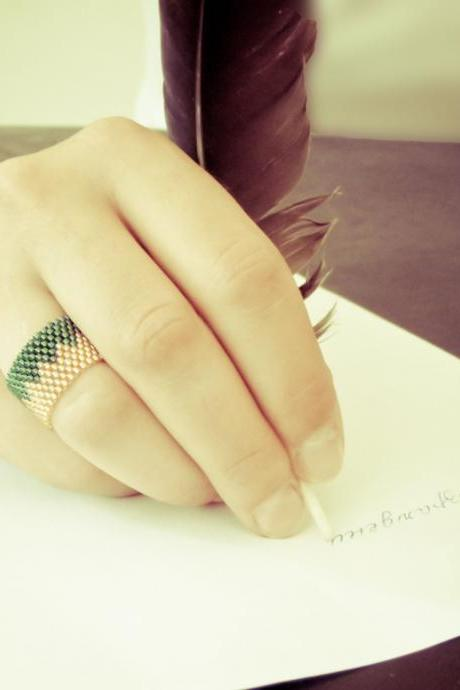 Mulan. Native American band ring. Chevron tribal zig zag pattern. Green bamboo tbteam, spteam, stylistteam