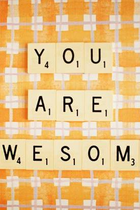 You Are Awesome. Retro Scrabble Tiles. Size 5x7'