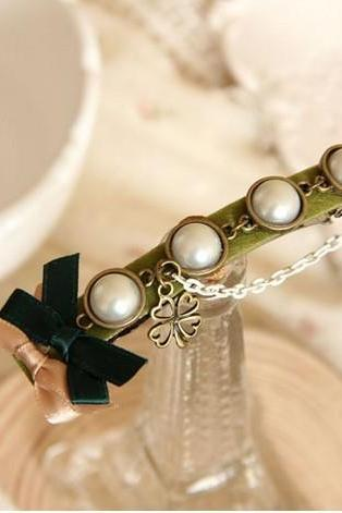 pearl bow clip hair accessory hairpin four leaf clover vintage small accessories hair pin clip