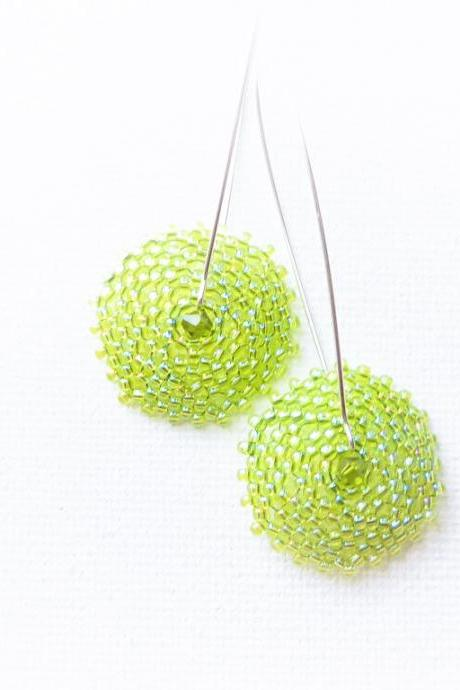 Apple green. Bridesmade long earrings. Beaded round shape. Spring fashion jewelry tbteam