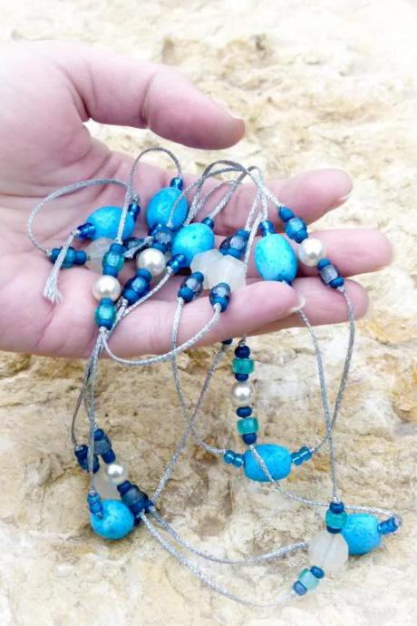 Sea Dream Turquoise beaded lariat silver waxed cotton thread necklace. Nautical Spring jewelry tbteam