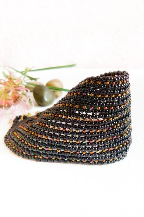 Fantasy. Glamour Black Bead woven Cuff / Bracelet. Fashion jewelry. Spring Summer Everyday Party time tbteam