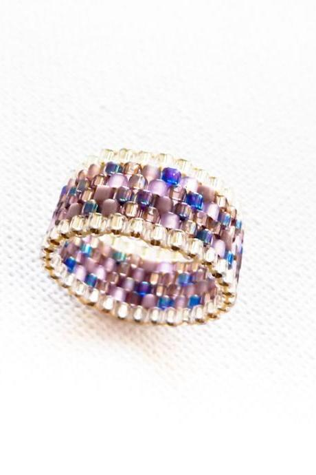 Enigma. Boho chic custom band ring purple rain silver trimming Fashion delica jewelry. Mothers day gift idea tbteam