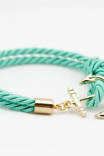 Teal Nautical Rope Bracelet with anchor , Teal Anchor Bracelet , bridesmaid gift bracelet