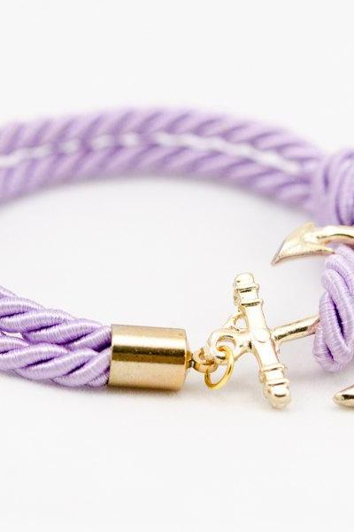 Lavender Anchor Bracelet , Lavender Nautical Rope Bracelet with anchor , bridesmaid gift bracelet