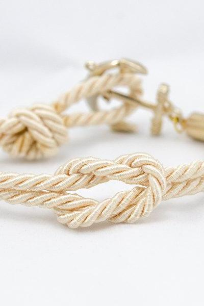 Ivory Nautical Anchor Bracelet , Nautical Rope Knot bracelet , Ivory Square Knot Bracelet , Anchor Bracelet