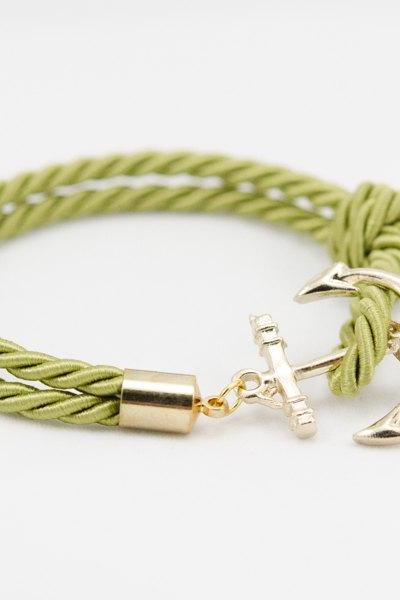 Gold Anchor Rope Bracelet with Green , Anchor Bracelet Green Color, Gold Rope Bracelet with anchor , bridesmaid gift rope bracelet