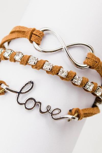 infinity bracelet , love bracelet , leather bracelet with Rhinestone bracelet