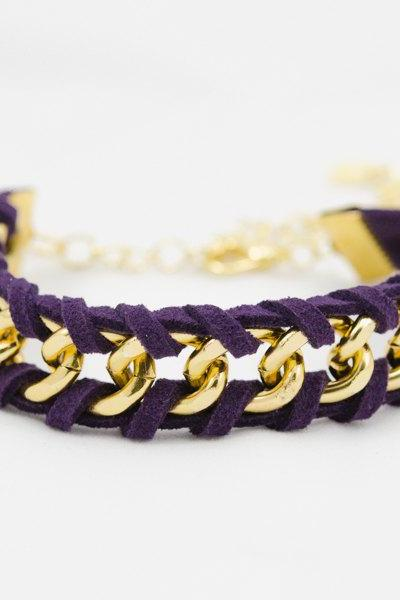 woven bracelet with purple leather, leather bracelet , violet woven chain bracelet , gold chain bracelet