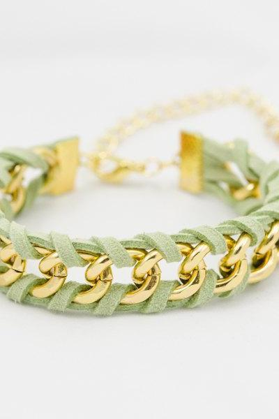 green mint leather bracelet , green woven chain bracelet , gold chain bracelet , woven bracelet