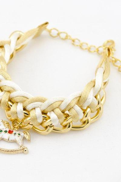 Carousel with ivory and gold woven chain bracelet , bridesmaids gift Gold Chain Bracelet , braided chain bracelet