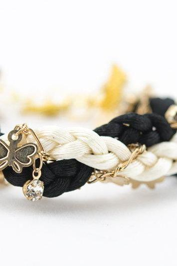 butterfly on chain twist black white braided bracelet with rhinestones , butterfly chain braid bracelet, bridesmaids gift