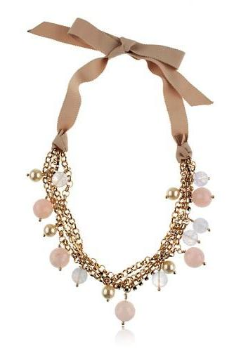Pearl Collar Chain Velveteen Statement Necklace