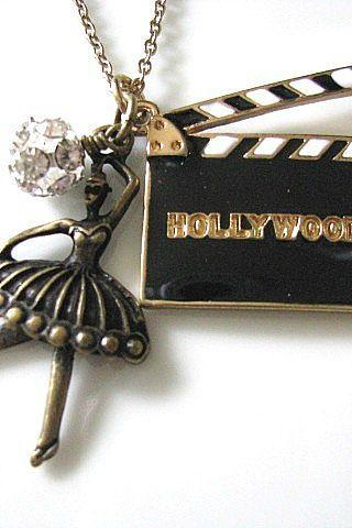 Hollywood Movies CUT Film Clapperboard Necklace - Black White Gold, Ballet Dancer, Crystal Rhinestone Balls, Hollywood Glam