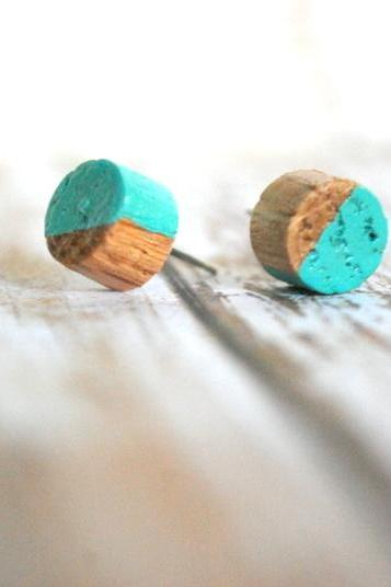 Teal and Natural Wood Studs - Earrings - Pair of Earrings