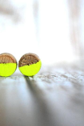 Neon Yellow and Natural Wood Studs - Earrings - Pair of Earrings