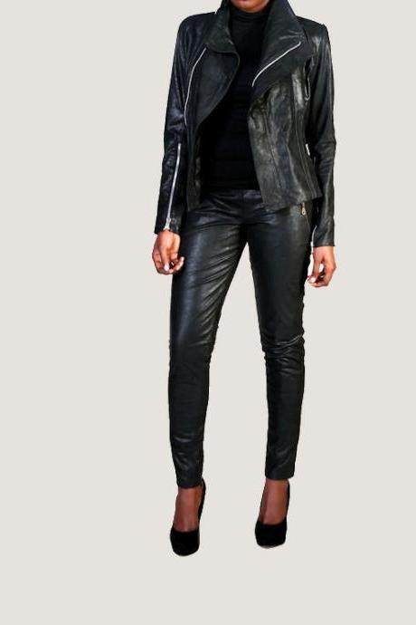 The 'Gemma' Layered Leather Jacket