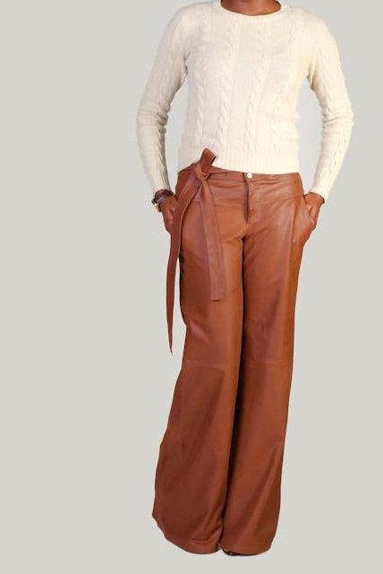 "The ""Faye"" Highwaisted Wideleg Leather Trousers"