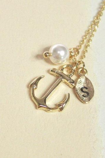 Anchor necklace, best friend necklace, friendship gift, initial bracelet, initial leaf and anchor, personalized necklace