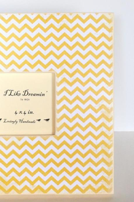 Yellow Chevron Large Picture Frame