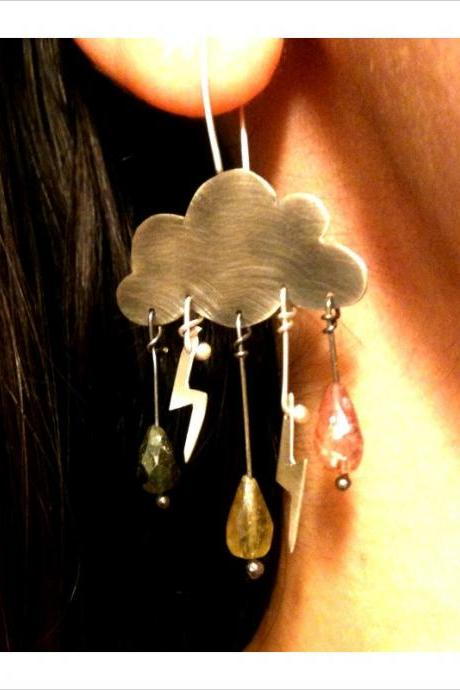 Cumulonimbus Sterling Silver Angry Cloud Earrings Tourmaline Rain Drops Lighting Bolts Delicate Feminine Gift Free Shipping
