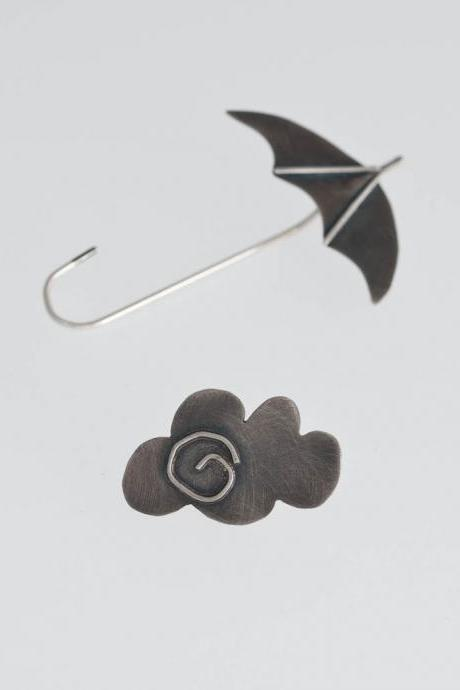 Mary Poppins Oxidized Sterling Silver Earrings Umbrella Cloud Escaped for Fairy Tale Modern Original Gift Smart Unusual Combination
