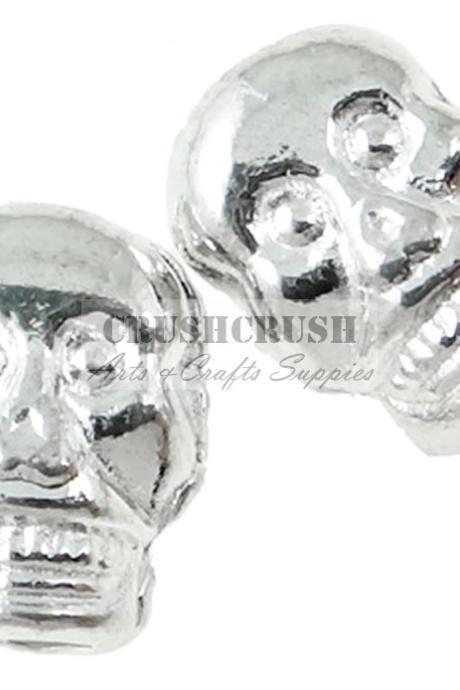 25pcs Silver Skeleton Skull Beads Charm Pendants Ghost Horror PND-531