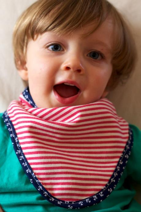 Jacky - Bandana Dribble Bib - Nautical Bib with Anchor Trim