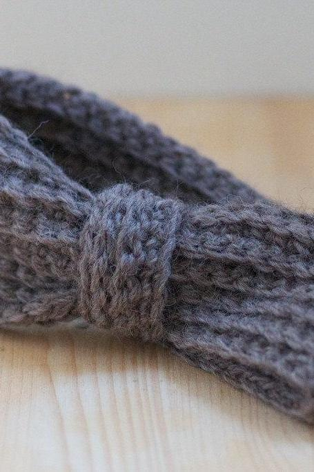 Slate Grey (gray) Crochet Headband - Ear warmers