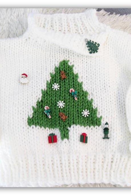 Oh Christmas Tree Boy or Girl Pullover Knitted Pattern Child Sizes Ages 3-8
