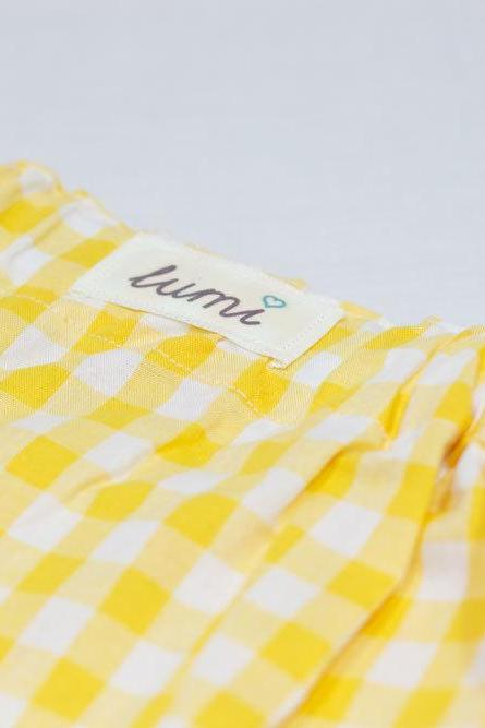 Lumi Girls Yellow Gingham Skirt