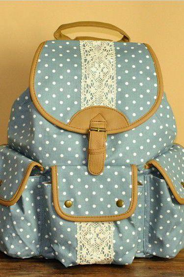 Light Blue Polka Dots Lace Backpack