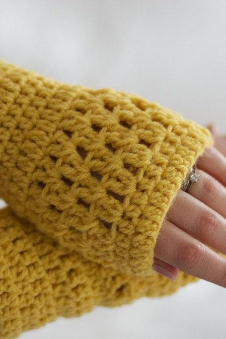 Mustard Yellow Crochet Wrist Warmers