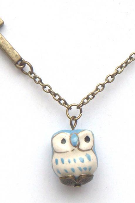 Antiqued Brass Cross Porcelain Owl Necklace