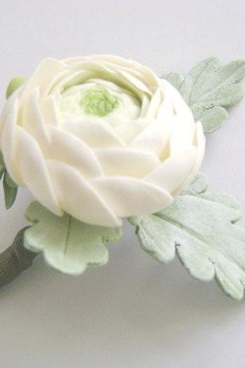 Rananculus and Dusty Miller Wedding Boutonniere.Groomsmen Flower