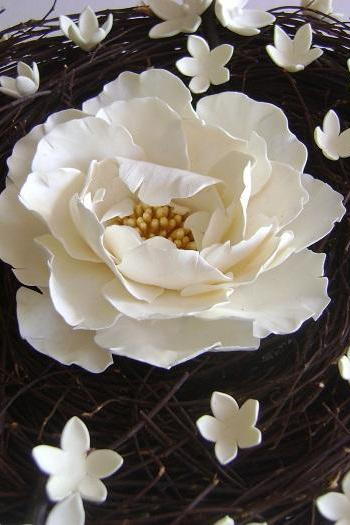 White Peony Wedding Ring pillow. Wedding/Bridal Ceremony