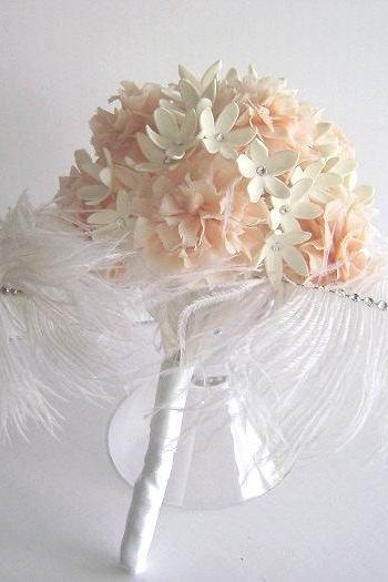 Wedding Bouquet - Clay Carnation Stephanotis Feather bridal Bouquet