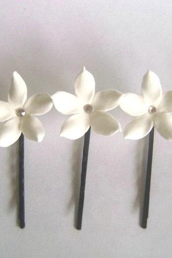 Weddings Hair Fascinators. White Stephanotis Hair Pins. Bridal/Bridesmaid Accessories. Set of 3