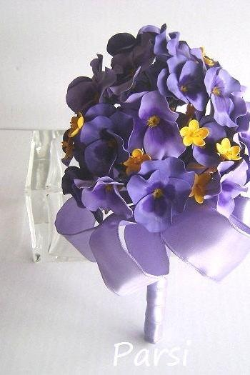 Purple Pansy Bridal/Bridesmaid Bouquet/Nosegay - Wedding Bouquet