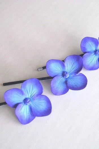Weddings Hair Fascinator. Bridal/Bridesmaid hair Pins. Blue-Purple Hydrangea Hair Pin. Set of 3. Made -to- Order
