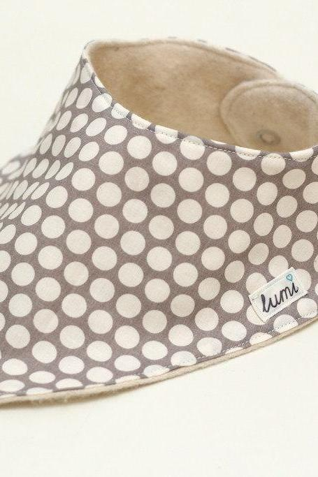 Organic Cotton Dribble Bib - Grey (gray) and Cream Dotty Bandana Dribble Bib