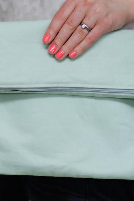 Fold over Fabric Zipper Clutch in Pastel Mint Green with Slate Grey (gray) lining
