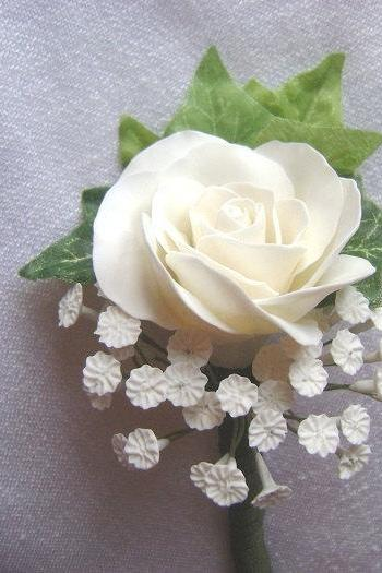 White Rose Wedding Boutonniere. Groomsmen